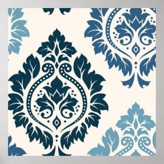 Arte decorativa do damasco mim azuis no creme poster
