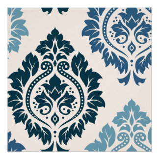 Arte decorativa do damasco mim azuis no creme poster perfeito
