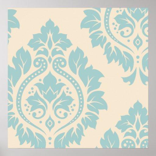 Arte decorativa do damasco mim - azul no creme posters