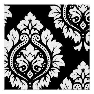Arte decorativa do damasco mim - branco no preto poster perfeito