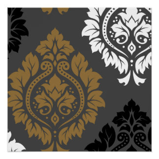Arte decorativa do damasco mim branco preto do poster perfeito
