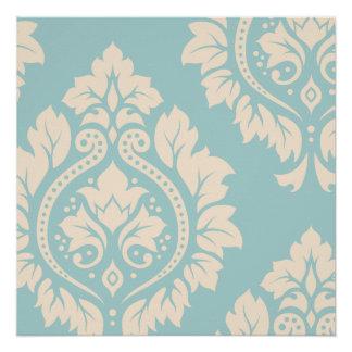 Arte decorativa do damasco mim - creme no azul poster perfeito