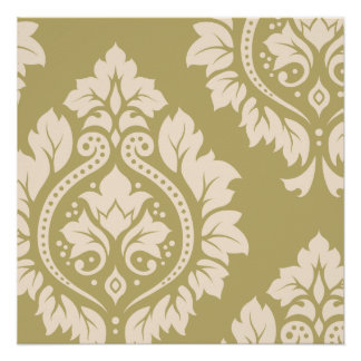 Arte decorativa do damasco mim - creme no ouro poster perfeito