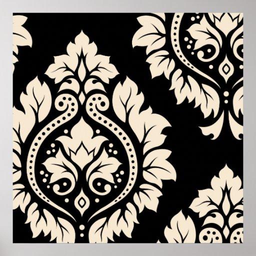Arte decorativa do damasco mim - creme no preto impressão