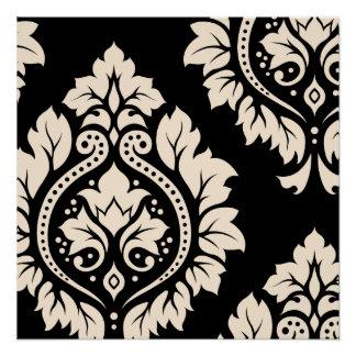 Arte decorativa do damasco mim - creme no preto poster perfeito
