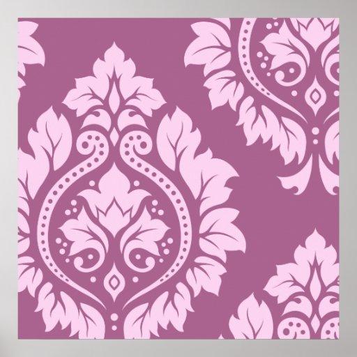 Arte decorativa do damasco mim - rosa na ameixa impressão