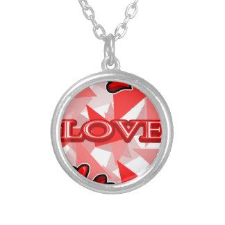 Arte/design do amor colar banhado a prata