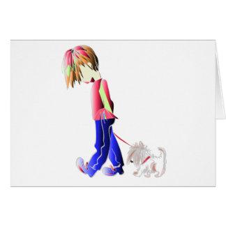 Arte digital de passeio do cão bonito do menino cartão