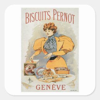 Arte do anúncio da comida do vintage de Pernot dos Adesivo Em Forma Quadrada