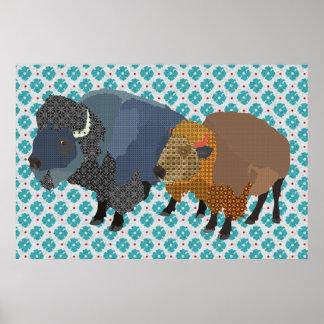 Arte do azul do búfalo impressão