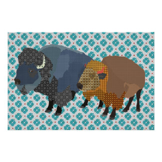 Arte do azul do búfalo poster