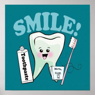 Arte do dente do escritório do dentista do sorriso poster