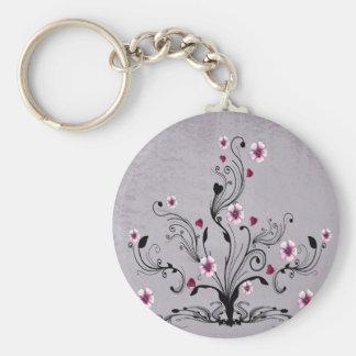 arte do design da árvore da flor do coração chaveiro