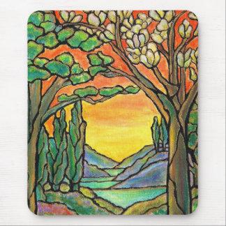 ARTE do design do vitral da paisagem de Tiffany! Mouse Pad