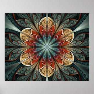 Arte do Fractal do abstrato do jardim secreto Poster