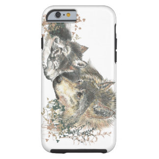 Arte do lobo da mãe da aguarela & do animal de capa para iPhone 6 tough