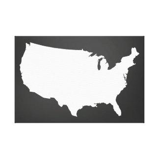 Arte do mapa dos Estados Unidos do quadro - preto Impressão Em Tela