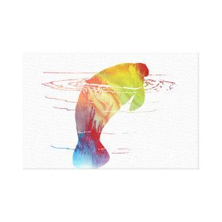 Arte do peixe-boi impressão em tela