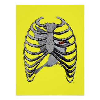 Arte do poster da gaiola de pássaro (amarelo)