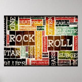 Arte do poster da música do rock and roll como o pôster
