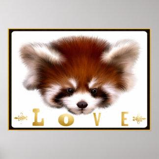 Arte do poster do amor da panda vermelha
