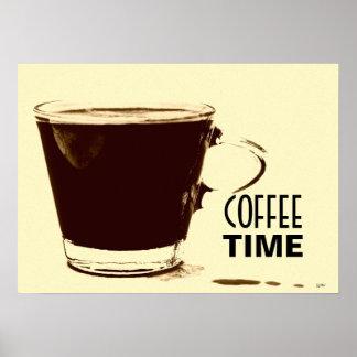 Arte do poster do tempo do café