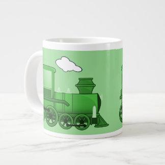 Arte do verde do louco do trem do vapor caneca de café muito grande