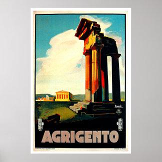 Arte do viagem de Agrigento Sicília Italia Poster