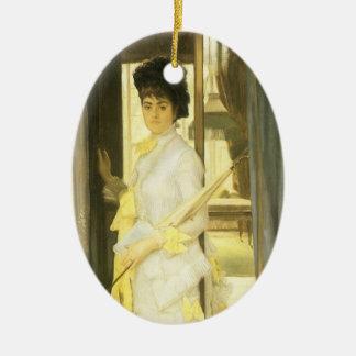 Arte do Victorian, retrato da senhorita Lloyd por Ornamento De Cerâmica Oval