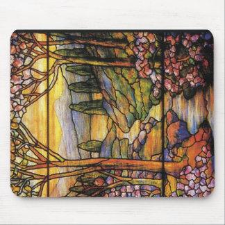 Arte do vitral da paisagem mouse pad
