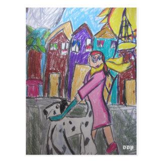 arte dois da caminhada do cão cartão postal