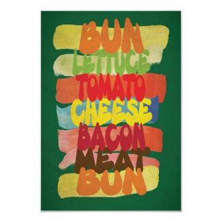 Arte engraçada da tipografia do hamburguer convite 8.89 x 12.7cm