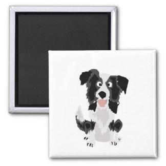 Arte engraçada do cão de filhote de cachorro de ímã quadrado