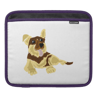 Arte engraçada do cão de german shepherd bolsa de iPad