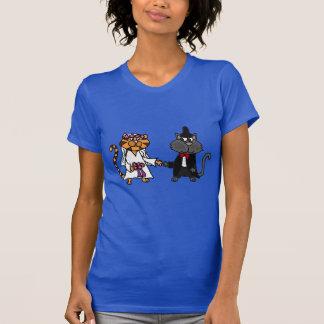 Arte engraçada do casamento dos noivos dos gatos t-shirt