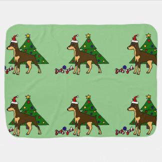 Arte engraçada do Natal do cão do Pinscher do Cobertorzinho Para Bebe