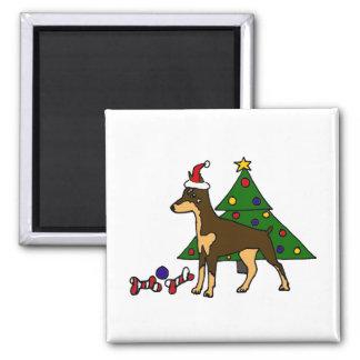Arte engraçada do Natal do cão do Pinscher do Ímã Quadrado