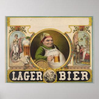 Arte engraçada do poster vintage da cerveja do Bie