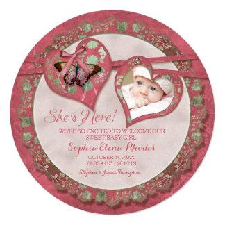 Arte floral do vintage doce do coração da convites