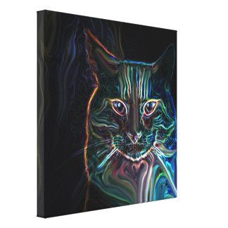 Arte gráfica do gato colorido no preto, canvas impressão em canvas