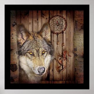 arte ideal indiana nativa rústica do lobo do colet pôster