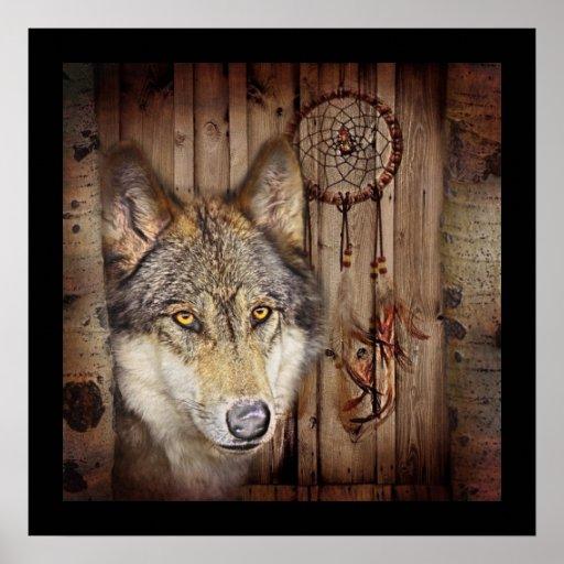 arte ideal indiana nativa rústica do lobo do colet posteres