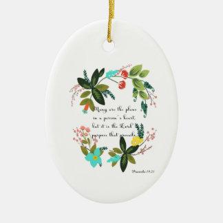 Arte inspirada cristã - 19:21 dos provérbio ornamento de cerâmica oval