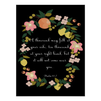 Arte inspirada cristã - 91:7 do salmo posters
