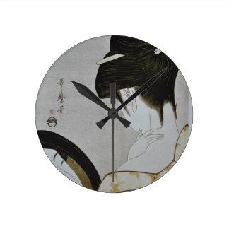 Arte japonesa da menina de gueixa do vintage relógio redondo