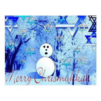 Arte judaica alegre do cartão do Natal de Chrismuk Cartão Postal