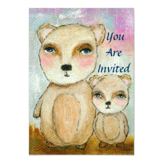Arte lunática dos ursos do chá de fraldas do convite 12.7 x 17.78cm