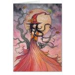 Arte mágica do Dia das Bruxas da bruxa e do gato d Cartao