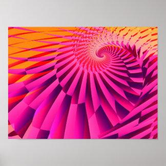 Arte moderna do Fractal do abstrato rosado do Poster