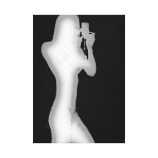 Arte moderna preto e branco da silhueta da mulher impressão de canvas envolvidas